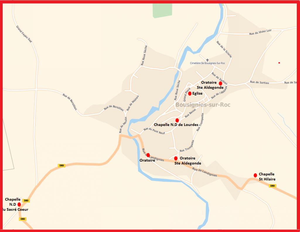 Centre du village (Encadré rouge sur la carte précédente