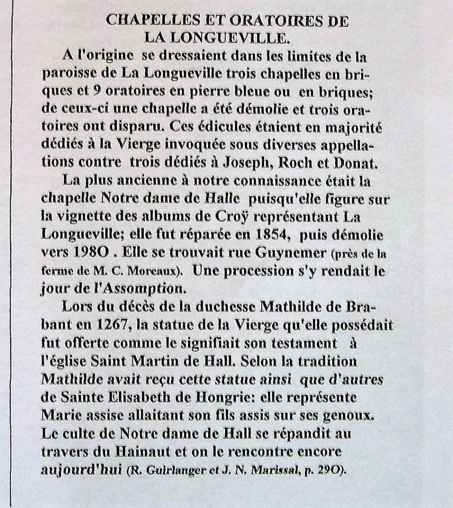 Article concernant l'oratoire N.D de Halle