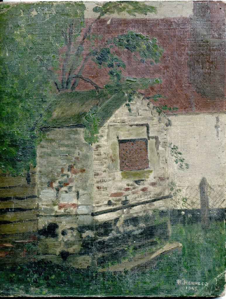 Chapelle du Tr+®chon disparue ce jour d'apr+®s un tableau de Wanecques 1945