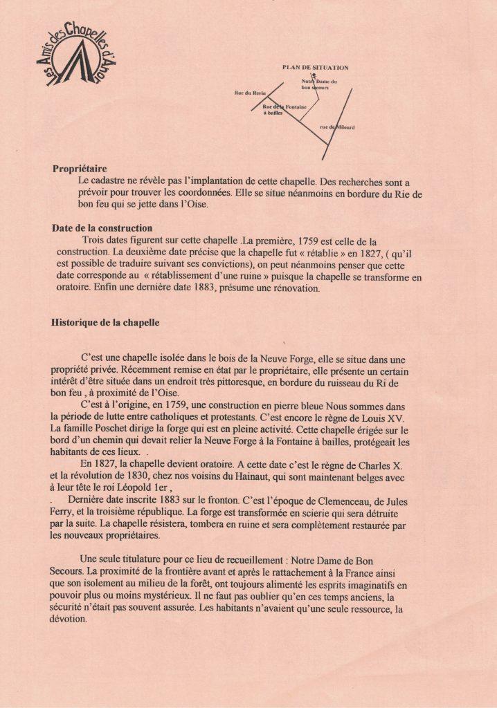 Fiche historique de la chapelle N.D du Bon Secours N° 36